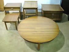 """FIVE Pieces! Willett Solid Cherry """"Trans-East"""" Mid-Century Modern Tables"""