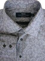 NEXT SIGNATURE Shirt Mens 16 M Grey - White Flowers REGULAR FIT