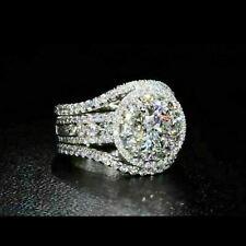 Certified 3.35 Ct Round Diamond Engagement Wedding Ring in 14K White Gold