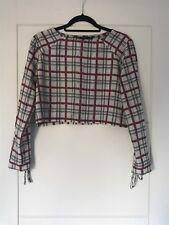 Zara Trafaluc Beige & Red Check Pattern Crop Top Sz M