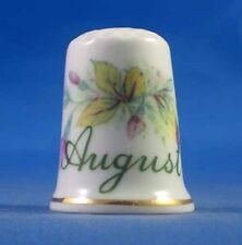Birchcroft China Thimble -- Flower of the Month August with Free Dome Gift Box