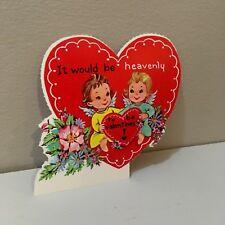 Vtg Valentine Card Cupid Cherub Pretty Little Girl Heavenly Angels 50's Unused