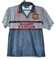 MANCHESTER UNITED 1995/1996 AWAY FOOTBALL SHIRT JERSEY UMBRO SIZE L BOYS