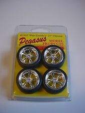 "Pegasus Chrome Phat Daddy's 5 Spoke 23"" Wheels Tires Model Car 1/25 1/24"