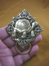 (E-480) Galapagos turtle on floral brass Eyeglass pin pendant ID badge holder