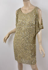 AIDAN MATTOX Gold Beaded Sequined Nude Silk Cold Shoulder Shift Party Dress 2 XS