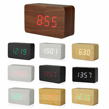 Wooden LED Digital Clock Alarm Clock Time Thermometer Calendar USB / AAA