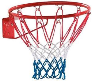 Canestro basket a muro in metallo 46cm rete in nylon per giardino pallacanestro