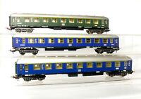 Lima H0   3 Stück 4-achsige Schnellzugwagen 1.Kl. der DB, blau und grün