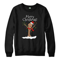 Groot Merry Christmas Jumper Avengers Xmas Gift Festive Adult & Kids Jumper Top