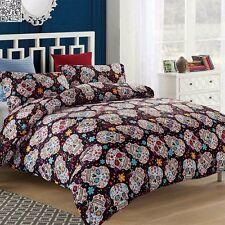 Skull Super King Size Bed Quilt Doona Duvet Cover Set Polyester Linen Floral