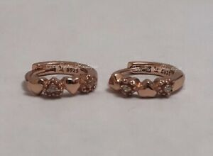 FULL OF HEART 100% Authentic PANDORA Rose GOLD Plated Stud Earrings NEW