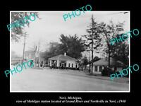 OLD LARGE HISTORIC PHOTO OF NOVI MICHIGAN, THE MOBIL OIL GAS STATION c1940