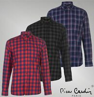 Mens Pierre Cardin Full Button Long Sleeve Check Shirt Top Sizes from S to XXL
