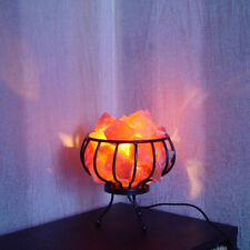 Himalayan Salt Lamp Metal Iron Basket Pink Crystal Rock Chunks therapeutic Light