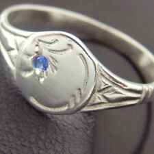 RING REAL SOLID 925 STERLING SILVER SAPPHIRE ENGRAVED SIGNET DESIGN SIZE M / 6