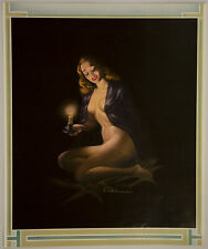 1950s Vintage Frank D'amario Erotic Candlelit Fine Art Deco Beauty Pin Up Poster