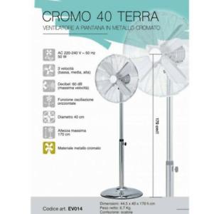VENTILATORE A PIANTANA IN METALLO CROMATO CROMO CM 40 DA TERRA CFG EV014