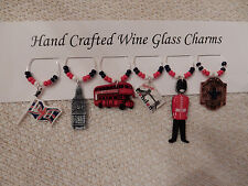""""""" ENGLAND""""/LONDON SET OF 6 Hand Crafted Wine Glass Charm drink markers"""