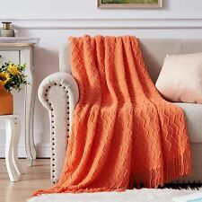 NexHome Throw Blankets for Couch Rust Textured Knit Blankets with Tassel Fringe