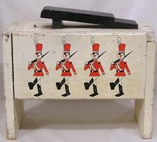 Vintage Wood Shoe Shine Box Toy Soldier Decor Circa 1950s Some Contents