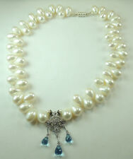 Statement Pearl Necklace Chandelier Earrings  Blue Quartz Sterling Silver Bridal