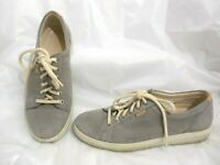 ECCO SOFT 7 SHOES SNEAKERS LACE-UP 43000302375 SUEDE LEATHER GRAY WOMENS SIZE 8