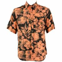 Mens Loud Shirt Retro Psychedelic Festival Party Funky Floral Orange REGULAR