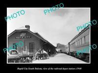 OLD LARGE HISTORIC PHOTO RAPID CITY SOUTH DAKOTA RAILROAD DEPOT STATION c1940 2
