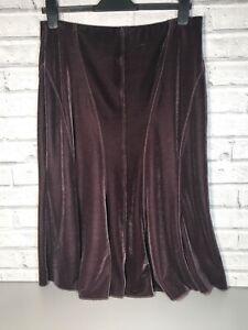Autograph M & S Velvet Plum Purple Midi Skirt Elasticated Waist Size UK 14