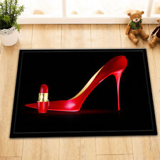 "15X23"" Kitchen Bath Non-Slip Door Mat Rug Bathmats Carpet Big Red Shoe Lipstick"