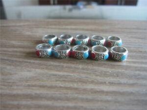 10 Tibetan Silver Dreadlock Dread Hair Tube Beads 7mm Hole