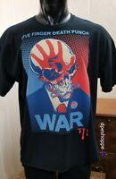 FIVE FINGER DEATH PUNCH -WAR- Logo Heavy Metal Black T-SHIRT Sz XL  **Note