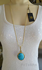 House of Harlow 1960 Tanta Crosshatch Turquoise Pendant Necklace - Signed NWT