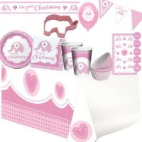 Baby Girl Pink Elephant Christening Party Tableware, Decorations & Balloons