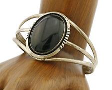 Silver W. Denetdale C.80's Navajo Bracelet Onyx .925