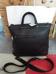 BNWT FOSSIL Haskell Handbag Briefcase grained cow leather black RRP £329 NEW