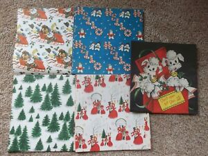 VINTAGE 1950's CHRISTMAS Wrapping PAPER SHEETS 6~ W/ BOX & GIFT TAGS & STICKERS