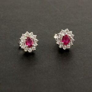 0.89 Ct. Ruby Gemstone Stud Earrings HI Color SI Clarity Diamond 14K White Gold