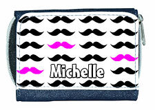 MOUSTACHES (IN ANY COLOUR) PERSONALISED LADIES / GIRLS DENIM PURSE *NAMED GIFT*