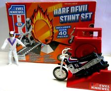 DELUXE IDEAL EVEL KNIEVEL 40+ pieces BIKE STUNT CYCLE SET Ramp Fire Hoop Book
