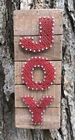 "JOY Christmas Primitives by Kathy Holiday String Art Box Sign, 10"" x 4"""