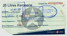 Zimbabwe CALTEX Fuel Ration Coupon 25 Litres Kerosene 2009 VERY RARE