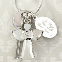 Personalised Guardian Angel Key Ring with Clear Crystal- Engraved Fob, Birthdays