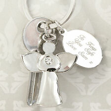 Personalised Guardian Angel Key Ring -Engraved - Remembrance,Birthday, Christmas