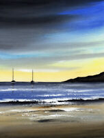 SEASCAPE WATERCOLOUR PAINTING Sarah Featherstone, Evening Sky, Beach, Boats, ART