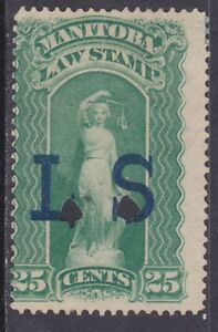 """Canada ML3 Used """"L S"""" 1877 25¢ Manitoba Law Stamp Issue Scv $55.00"""