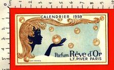 Carte parfumée Rêve d'or PIVER calendrier 1959