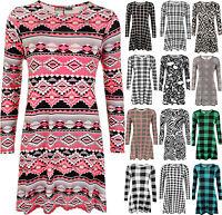 New Womens Plus Size Print Check Aztec Long Sleeve Top Ladies Swing Skater Dress