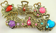 Wholesale 5pcs Crystal Bronze Metal Alloy Hair Clamp Claw Clips Hairpins  2ad